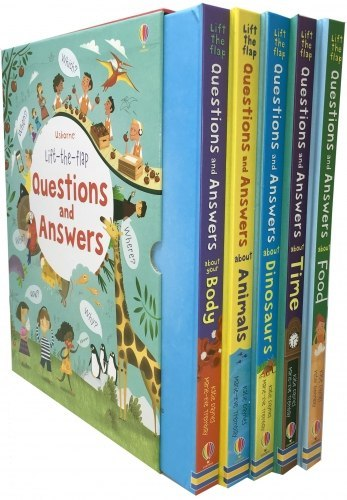 Usborne Lift-the-flap Questions and Answers 5 Books Collection